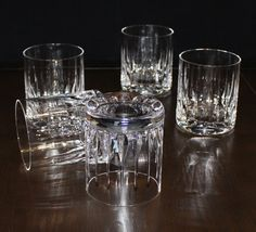 Vintage, Set of 5, Vertical Teardrop Cut Crystal, Heavy Double Old Fashioned Glasses by cocoandcoffeevintage
