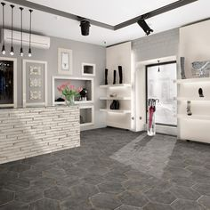 Shop for SomerTile Lambris Cendra Hex Porcelain Floor and Wall Tile sqft. Get free delivery at Overstock - Your Online Home Improvement Shop! Get in rewards with Club O! Basement Flooring, Kitchen Flooring, Flooring Ideas, Laminate Flooring, Slate Flooring, Online Tile Store, Tiles Online, Tile Stores, Wood Look Tile
