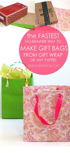 Turn gift wrap to gift bags tutorial from A Piece of Rainbow Blog