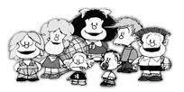 Miguelito, Susanita, Mafalda, Felipe y Manolito. Delante: Libertad y Guille.