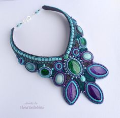 Beaded necklace -Beadwork jewelry with natural stones
