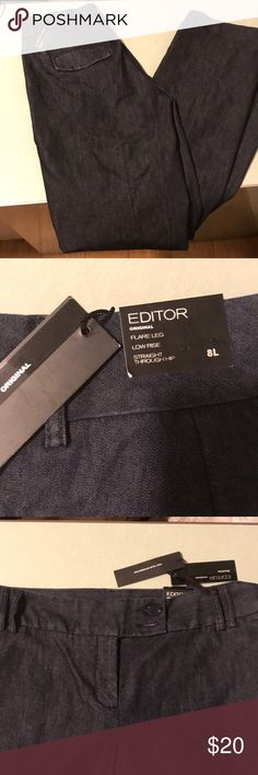 Express Editor NWT jeans New with tag express editor jeans. They are 8L flare leg, low rise and straight through the hip. Express Jeans Flare & Wide Leg