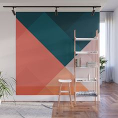 Buy Geometric 1708 Wall Mural by theoldartstudio. Worldwide shipping available a… – Decoration Room Colors, Wall Colors, Geometric Wall Paint, Bedroom Wall Designs, Room Wall Painting, Creative Walls, Creative Wall Painting, Office Walls, Wall Murals