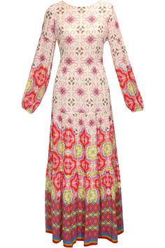 Payal Pratap Pink geometric floral print maxi dress $310