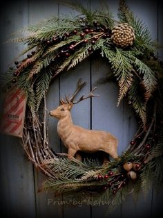 Primitive Reindeer Christmas Wreath Pine Cones Red Berries and Rusty Bells | eBay