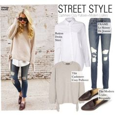 Street Style-Cashmere Cozy Pullover+Modern Loafers