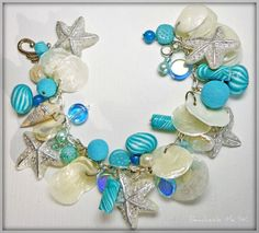 Turquiose & Silver Starfish & Florida Shell/ Freshwater Pearl Charm Bracelet by BeadazzleMe via Etsy