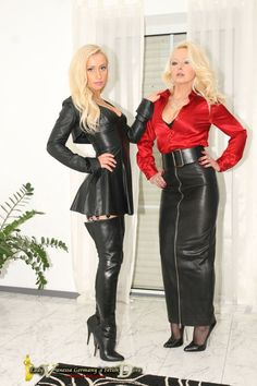 Lady Vanessa and her stunningly beautiful, leather goddess girlfriend! Long Leather Skirt, Leather Dresses, Leather Mini Skirts, Crazy Outfits, Sexy Outfits, Sexy Dresses, Hobble Skirt, Satin Bluse, Latex Dress