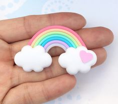 Cabochon Rainbow,Miniature Cabochon,Miniature Sweet,Mobile Accessories,Miniature D Sculpey Clay, Cute Polymer Clay, Cute Clay, Polymer Clay Crafts, Diy Clay, Rainbow First Birthday, Unicorn Birthday Parties, Clay Crafts For Kids, Crafts To Sell