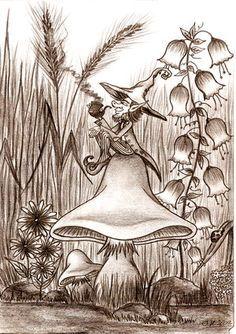 Vivid the Artwork!How Vivid the Artwork! Fairy Drawings, Art Drawings Sketches, Pencil Drawings, Mushroom Drawing, Mushroom Art, Magical Creatures, Fantasy Creatures, Desenhos Halloween, Elves And Fairies