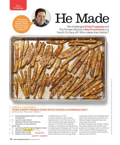 "Food Network Magazine - ""He Made"" French Fries~Emeril Lagasse's Oven Crispy French Fries w/ Paprika-Parmesan Salt"