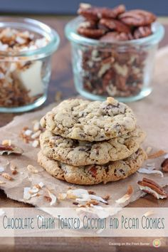 Chocolate Chunk Toasted Coconut and Pecan Cookies - by Cooking on the Front Burner at Lady Behind The Curtain