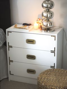 DIY: Campaign Dresser created from an Ikea Rast 3-drawer chest.
