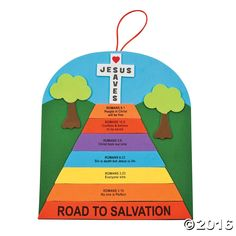 Build a road to salvation road sign with self-adhesive foam pieces printed with Scripture from Romans. This religious craft kit would be ideal for a Sunday ...