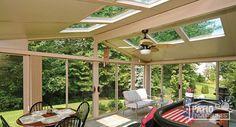Three season sunroom with sandstone aluminum frame with gable roof. #sunrooms #homeimprovement