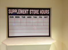 Supplement kiosk @ Retro Fitness - Full color print with dry erase over laminate and you've got a custom dry erase board.  Good stuff! #coastalsign #dryerase #custom #interior graphics