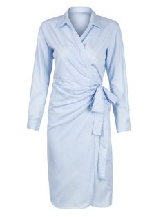 Buy Light Blue Wrap Front Tied Waist Boyfriend Shirt Dress from abaday.com, FREE shipping Worldwide - Fashion Clothing, Latest Street Fashion At Abaday.com