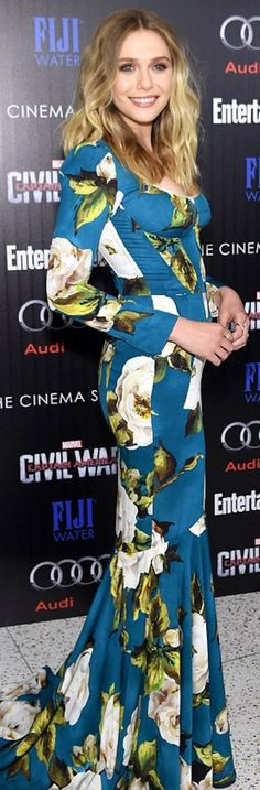 Who made Elizabeth Olsen's blue floral gown?