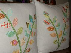 Set of Two Linen Patchwork 16 inch Pillow Covers by pieceabilities, $70.00