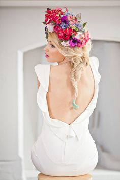 Vibrant floral crown and open back gown   Photo by Katy Lunsford Photography