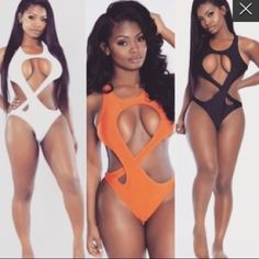Swim suit Really cute and trendy swim suit. Nice and thick stretchy material. I have 1 orange and 1 black both a size medium runs true to size Swim One Pieces
