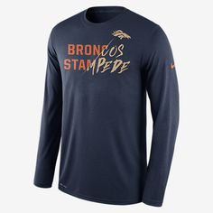 REPRESENT YOUR TEAM The long-sleeve Nike Legend Gold Story (NFL Broncos) Men's Training Shirt is made with soft Dri-FIT fabric for everyday comfort. A proud team mantra stands out in mixed print detail for pure pride. Benefits Dri-FIT fabric helps keep you dry and comfortable Rib crew neck with interior taping for comfort and durability Product Details Fabric: Dri-FIT 100% polyester Machine wash Imported