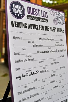 MAD LIBS - wedding card / baby shower card / bridal shower card - printed set of 50. $50.00, via Etsy.