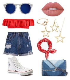 """4thOfJuly"" by thegreendino ❤ liked on Polyvore featuring J.Crew, Illesteva, Kenneth Jay Lane, Latelita, Lime Crime, STELLA McCARTNEY and Converse"