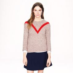 "Alpaca ribbed ""V"" sweater - J Crew"