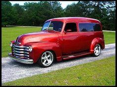 Vintage red 1949 Chevrolet Panel Truck!