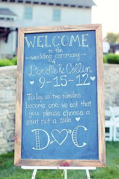 Love this chalkboard sign used at a wedding ceremony! Created by Details Made Simple and shot by Vanessa Joy Photography http://www.detailsmadesimple.com/index2.php#/home/