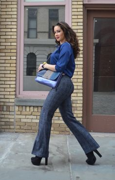 "work outfit,  grey wide leg pants, long sleeve blouse, luichiny platform booties  #curvy        ""if you like my curvy girl's fall/winter closet, make sure to check out my curvy girl's spring/summer closet.""   http://pinterest.com/blessedmommyd/curvy-girls-springsummer-closet/pins/"