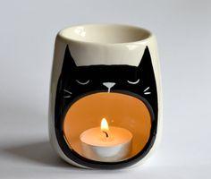 Gato aceite quemador - cera derretir - gato bostezando - sueño - Portavelas…