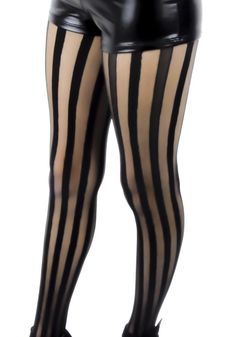 Freakshow Black & Sheer Vertical Stripe Pantyhose Tights! One Size Fits Most. Design is all over in the front and back.