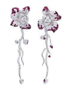 The Earth --- Orchid Earrings #charawen #artjewelry #theearth #diamond #colordiamond #finejewelry #ruby #earrings