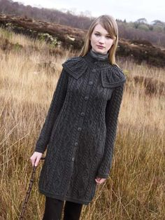 Made from 100% Merino Wool Beautiful A line coat with a unique design feature of a collar cape attached. Traditional vertical stitches on this cape collar coat gives the wearer a slimmer and taller look.