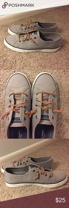 Sperry Top-Sider Seacoast Canvas Sneakers Sperry Top-Sider Seacoast Canvas Sneakers, with memory, in gray, navy blue trim, with brown leather laces. Very clean. Sperry Top-Sider Shoes Flats & Loafers