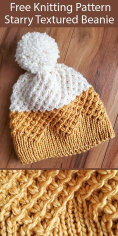 Free Knitting Pattern for Starry Textured Beanie Hat - 2 color pompom hat knit with the star or daisy stitch with a zigzag brim. Designed by Kristin Baird. knit hat Free Knitting Pattern for Starry Textured Beanie Hat Beanie Knitting Patterns Free, Easy Knitting, Knitting For Beginners, Knit Patterns, Textures Patterns, Knitting Stitches, Beanie Pattern Free, Beginner Knitting Patterns, Kids Knitting