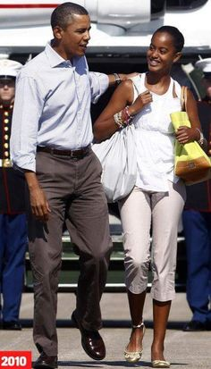 President Barack and First Daughter Malia Obama