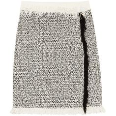 Lanvin Lanvin - Fringed Cotton-blend Tweed Mini Skirt - Ivory (€335) ❤ liked on Polyvore featuring skirts, mini skirts, fringe skirts, wrap skirt, tweed mini skirt, ivory skirt and short wrap skirt