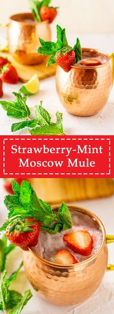 Strawberry-Mint Moscow Mule - Who loves an easy strawberry cocktail? This strawberry mint Moscow mule is just for you! This simpl - Best Cocktail Recipes, Easy Cocktails, Dinner Recipes, Vodka Cocktails, Summer Cocktails, Vegan Recipes Easy, Beef Recipes, Cooking Recipes, Easy Cooking