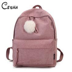 Fashion Fuzzy Ball Design Girl School Backpack High Quality Corduroy School  Bag Pretty Style Students Durable Book Bag Satchel Review 2fb9ff866b37e