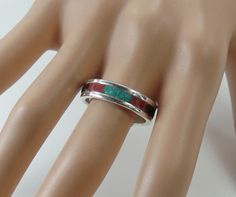 Sterling silver ring with inlayed red coral, turquoise and black onyx by RadiantOriginals on Etsy