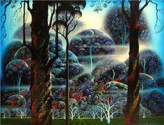 Mist in the Dark Woods 1992 by Eyvind Earle - Serigraph Eyvind Earle, Phoenix Art Museum, Art Hub, West Art, Magic Realism, Unusual Art, Whimsical Art, Tree Art, Dark Wood