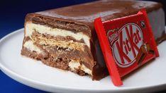 no bake Kit Kat ice cream cake Food Cakes, Cupcake Cakes, Cupcakes, Kit Kat Recipes, Cake Recipes, Cake Mix Cookies, Ice Cream Cookies, Easy Rainbow Cake Recipe, Kit Kat Dessert
