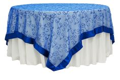 "Embroidery Swirl Overlay 90"" Square Table Topper - Royal Blue"