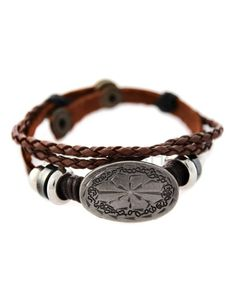 (UTB013-BROWN) Unisex Casual Leather Twist Strap Snap Button Basic Fashion Bracelet