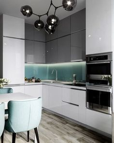 How to put your kitchen credenza? Kitchen Room Design, Modern Kitchen Design, Living Room Kitchen, Home Decor Kitchen, Modern House Design, Home Design, Interior Design Living Room, Kitchen Colour Combination, Modern Kitchen Interiors