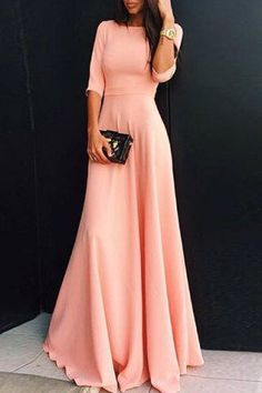 Elegant Round Collar Pink 3/4 Sleeve Dress For WomenMaxi Dresses