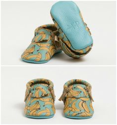 Freshly picked moccasins for kids in limited edition banana print. Cute!